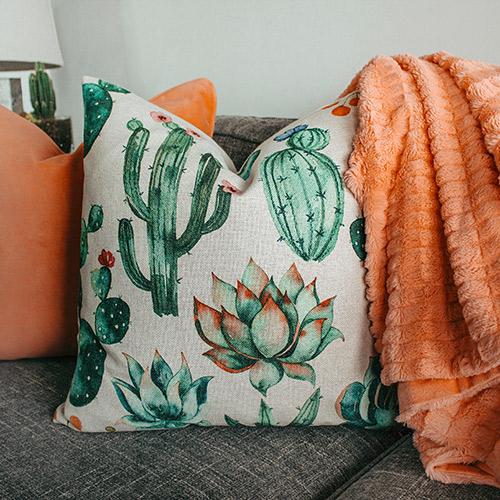 Tissus coussins motif cactus