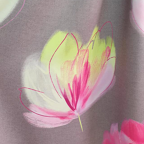 Tissus rideaux et stores motif végétal rose