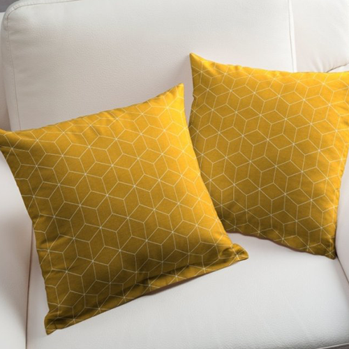 Tissus coussins jaunes